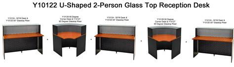 u shaped glass desk u shaped 2 person glass top reception desk