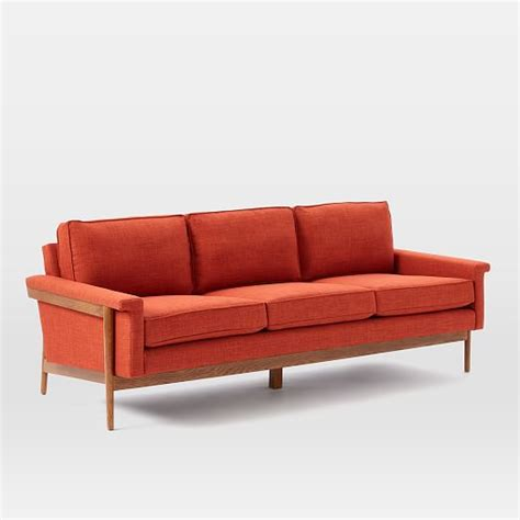 sofa wood frame leon wood frame sofa west elm