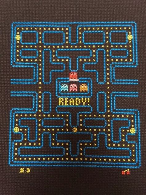 pacman pattern video pacman video game cross stitch and backstitch by