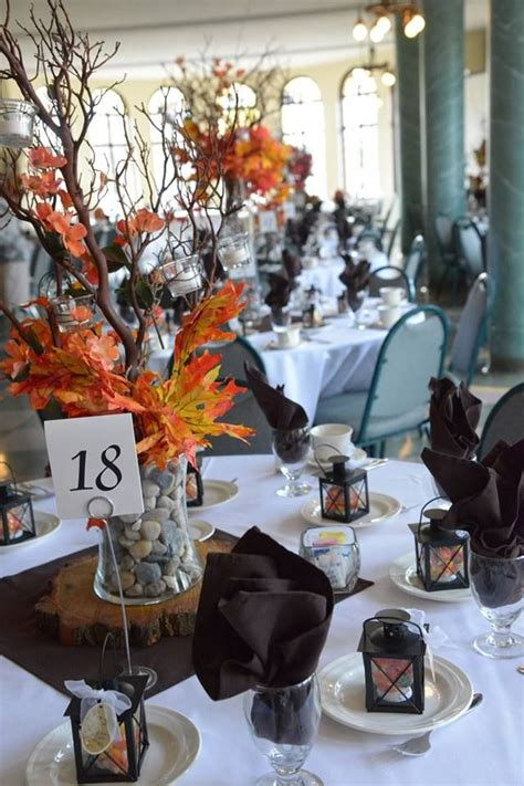 Our Centerpieces For Our Rustic Fall Themed Wedding Fall Themed Centerpieces