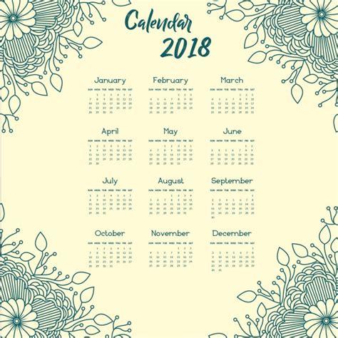 Calendario Annuale 2018 Blue Mandala Style Floral Annual Calendar 2018 Vector