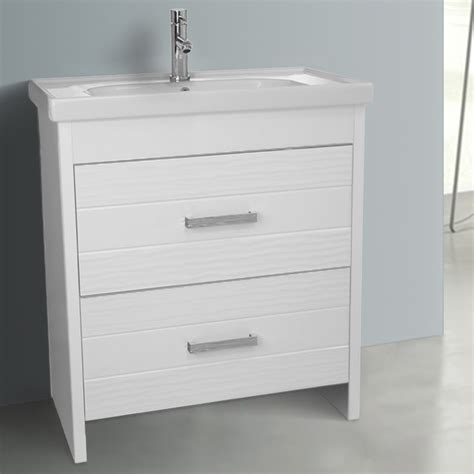 31 inch floor standing white vanity cabinet with fitted