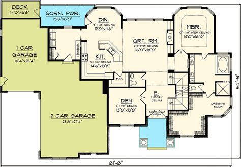 great home plans 4 bedroom with 2 story great room 89831ah