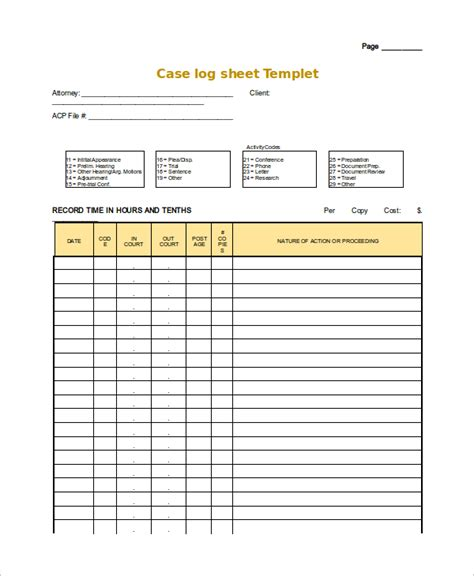 Log Sheet Template by Log Sheet Template 18 Free Word Excel Pdf Documents
