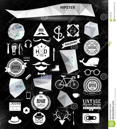hipster style elements icons and labels stock vector hipster style elements and icons stock vector