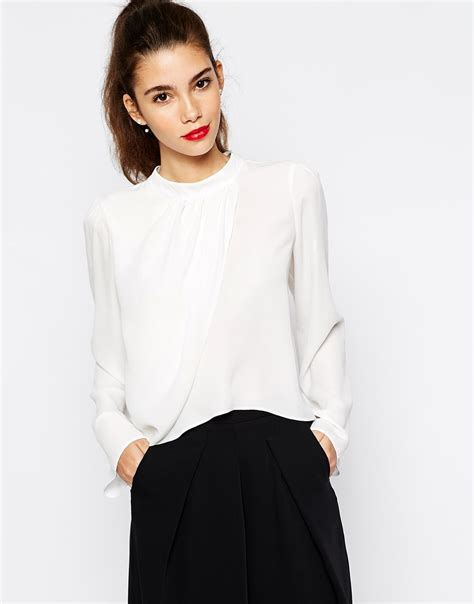 High Neck Blouse In by Lyst High Neck Wrap Front Blouse In White