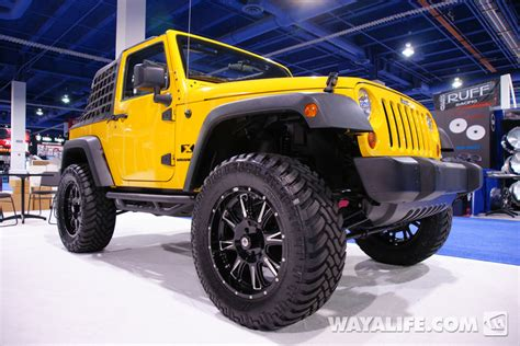 yellow jeep 4 door 2012 sema wheels 1 yellow 2 door jeep jk wrangler