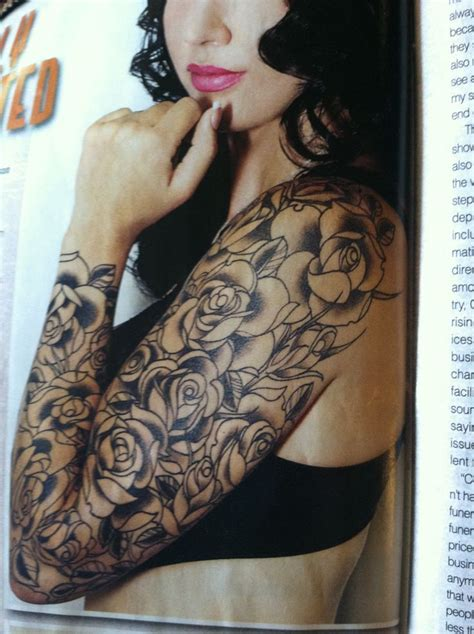 decorative rose tattoo 2 rose sleeve tattoo on