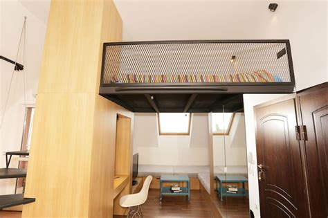 studio loft bed small apartment with a loft bedroom and bright open plan