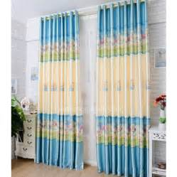 Yellow Nursery Curtains Lively Printed Sheep Pattern Blue And Light Yellow Nursery Curtain