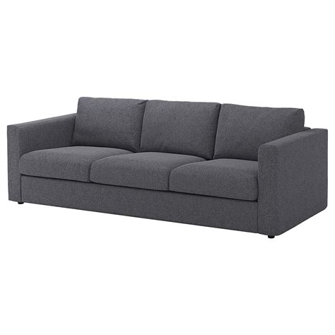 grey fabric sofas vimle 3 seat sofa gunnared medium grey ikea