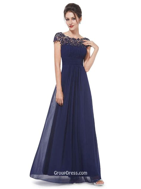 Longdress Cap stunning cap sleeves floor length lace chiffon