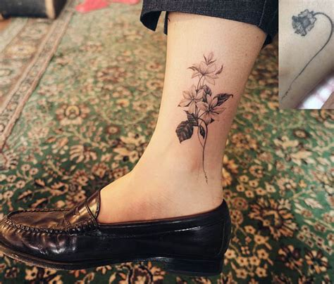 ankle cover up tattoos flower cover up best ideas gallery