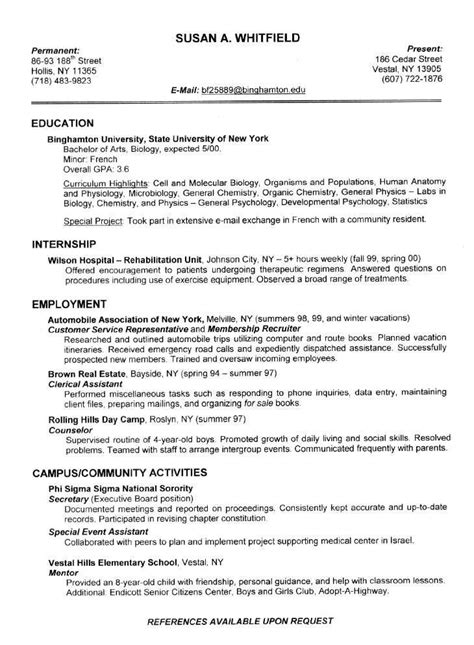 sample resume for college student districte15 info
