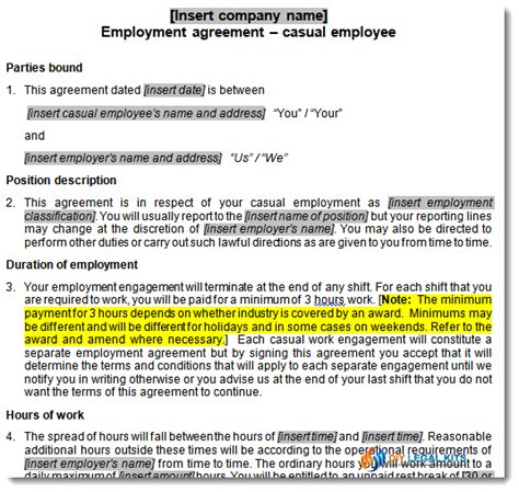 casual employment contract template casual employment contract contract for casual employee