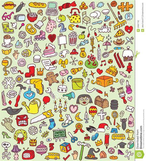 doodle version free big doodle icons set stock photography image 29987792