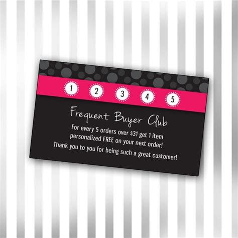 Frequent Customer Card Template by Custom Consultant Frequent Buyer Club Template Polka Dot