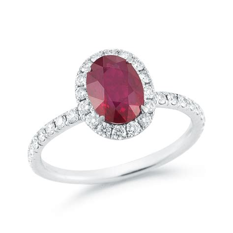 1 59 carat oval cut ruby halo ring