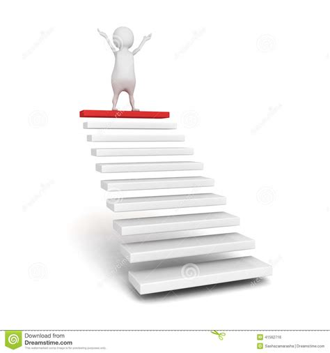 Steps For by Success 3d Person On The Top Of Steps Or Stair Ladder