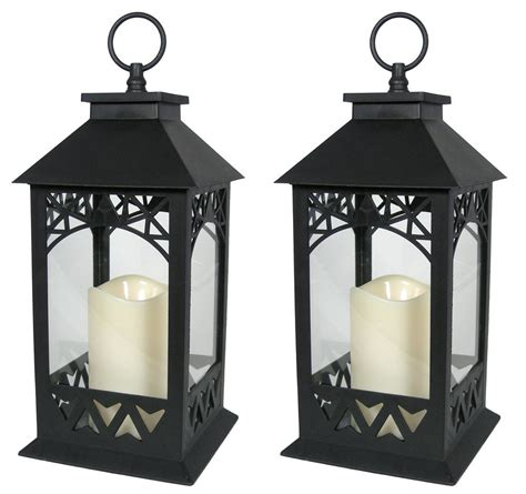 decorative lanterns set of 2 black lantern with led