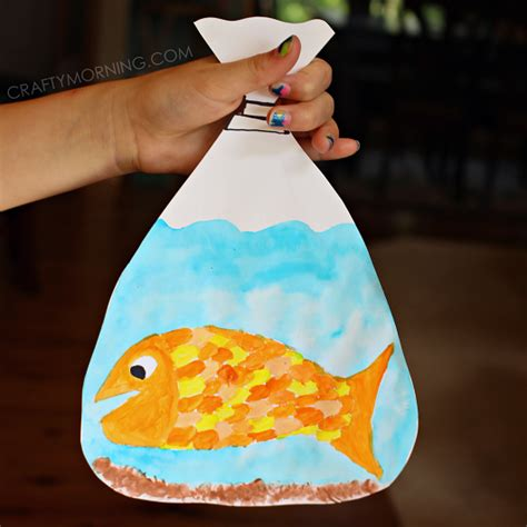 Paper Bag Fish Craft - goldfish in a bag painting craft crafty morning