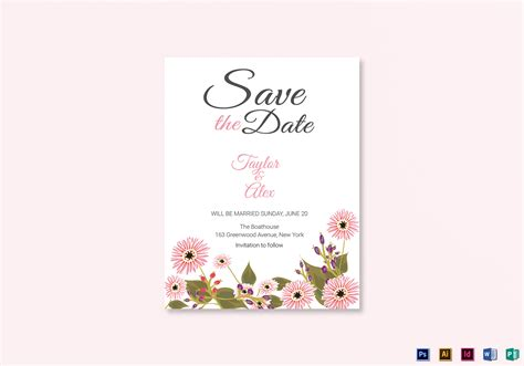 publisher save the date templates floral save the date card design template in illustrator