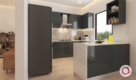 Small U Shaped Kitchen With Island 12 gorgeous grey kitchens for indian homes