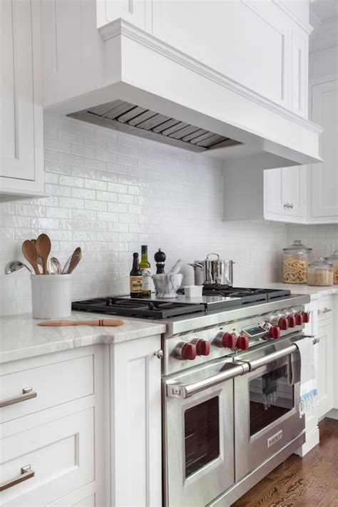 Mini Subway Tile Kitchen Backsplash by White Gloss Mini Subway Tiles Transitional Kitchen