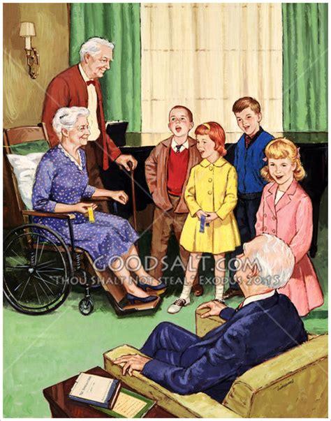 children visiting folks home