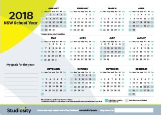 printable calendar 2018 nsw free study resources for students and their parents