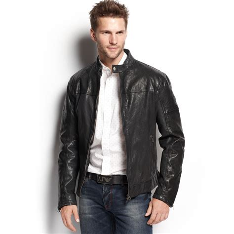 Tj Maxx by Armani Jeans Leather Bomber Jacket In Black For Men Lyst