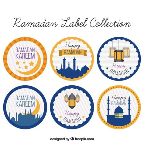 printable eid stickers pack of ramadan round stickers vector free download