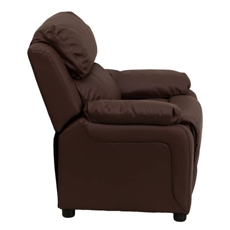 kids brown leather recliner flash furniture deluxe heavily padded contemporary brown