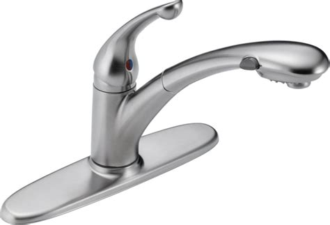delta signature single handle pull out sprayer kitchen faucet in arctic stainless the home