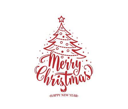merry christmas  happy  year text xmas tree  decoration type stock illustration