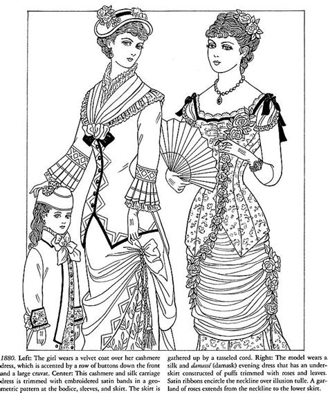 vintage dress coloring page victorian lady coloring page
