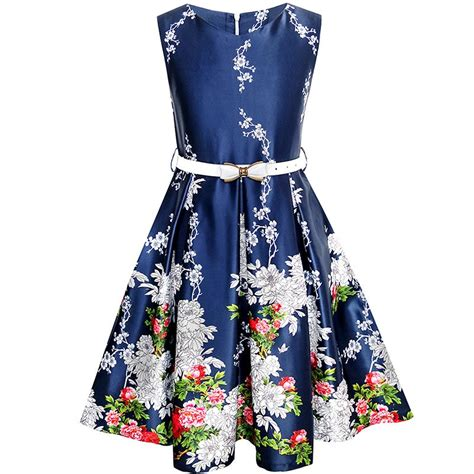 Fashion Blue fashion dress navy blue flower belt vintage sundress 2017 summer princess