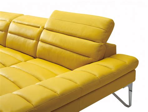 Yellow Leather Sofa Divani Casa Leven Modern Yellow Leather Sectional Sofa