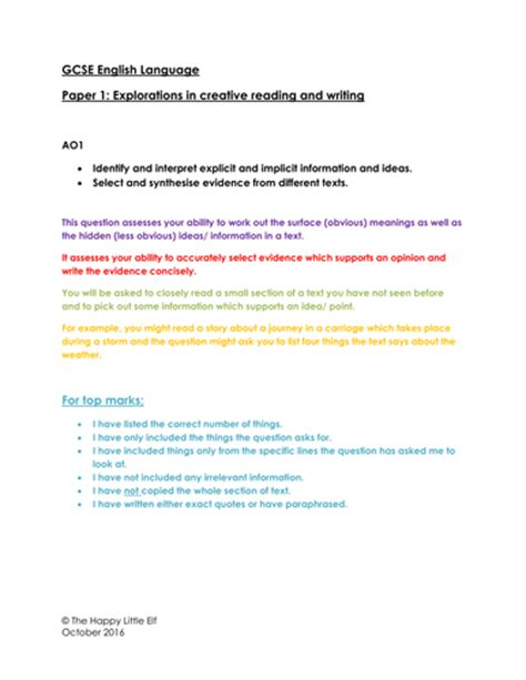 gcse reading and writing past papers aqa creative writing gcse scheme