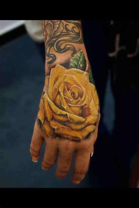 yellow roses tattoo with yellow