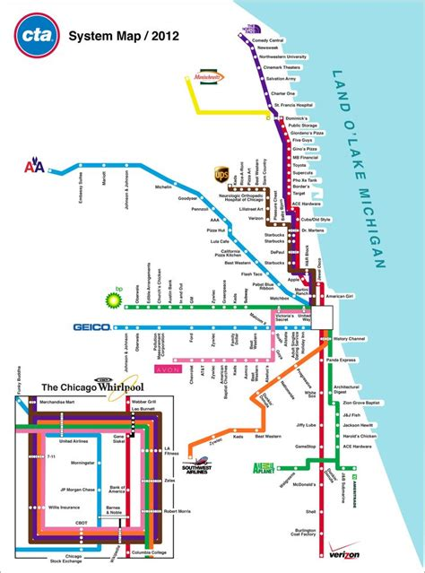 chicago map with transit chicago transit authority map chicago