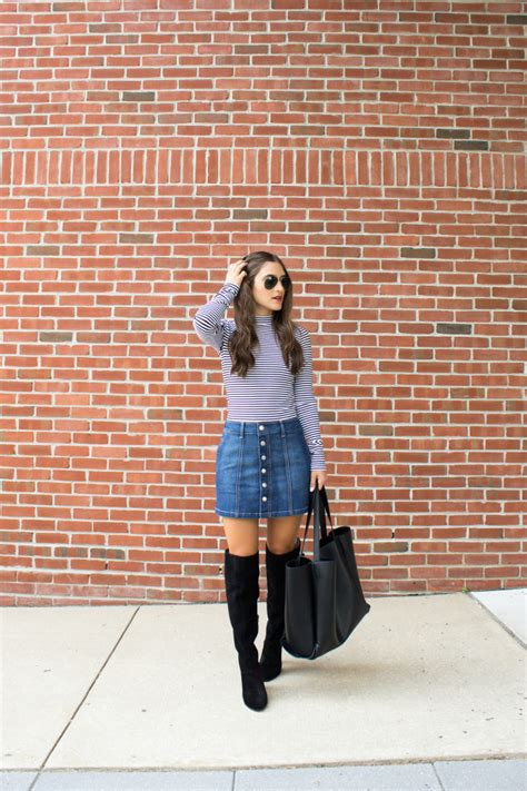 Mikayla 3 Layer how to style your denim skirt for fall the everygirl