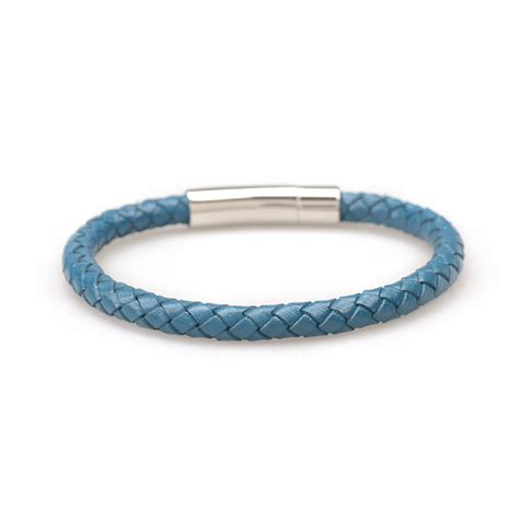 leather bracelets blue braided leather bracelet polished push button clasp