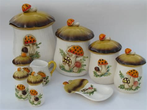 Kitchen Canister Sets Vintage retro 70s merry mushrooms canister and kitchen ware set