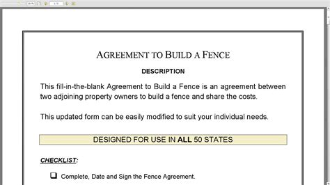 Agreement To Build A Fence Youtube Free Fence Contract Template