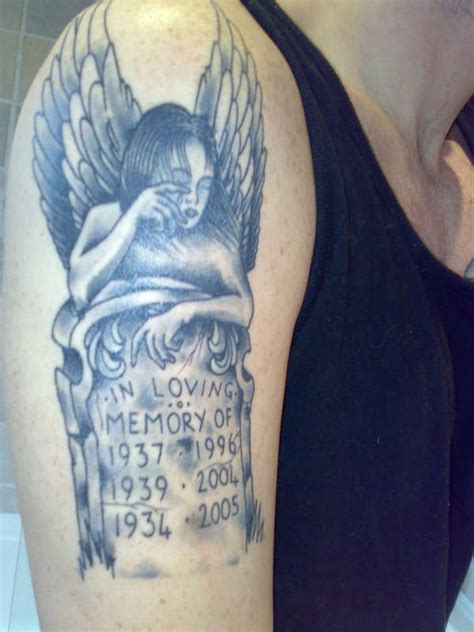 tombstone tattoos designs memorial with tombstone on right half sleeve
