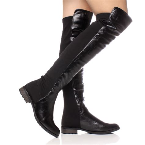 heel boots womens high the knee elastic stretch pull on