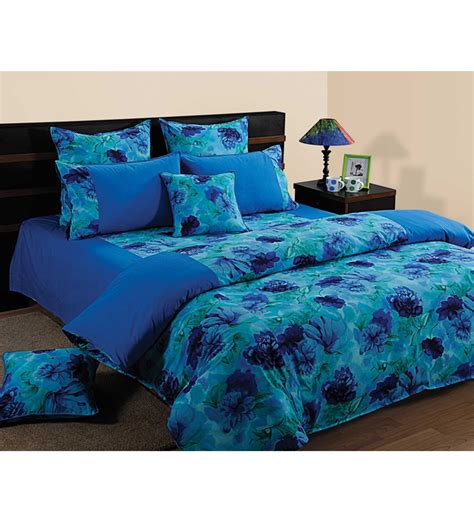 blue flower comforter set swayam blue floral printed bedding set by swayam online