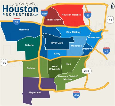 texas map houston area great map of houston s inner loop neighborhoods from http www houstonproperties houston