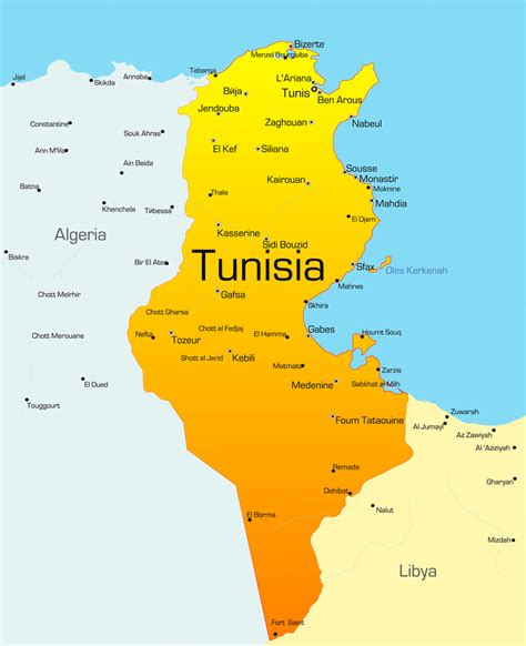 where is tunisia located on a map tunisia africa map